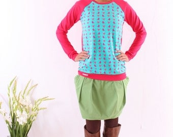 """Pauline"" sweater pink / turquoise with birds"