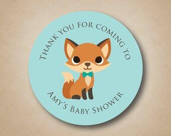Woodland Baby Shower Fox Baby Shower Favor Sticker Woodland Animals Baby Shower Labels Boy Baby Shower Ideas Cute Fox Stickers Fox Favors