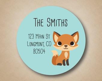 Return Address Labels Fox Address Stickers Woodland Creatures Address Label Personalized Fox Stickers Custom Round Address Sticker