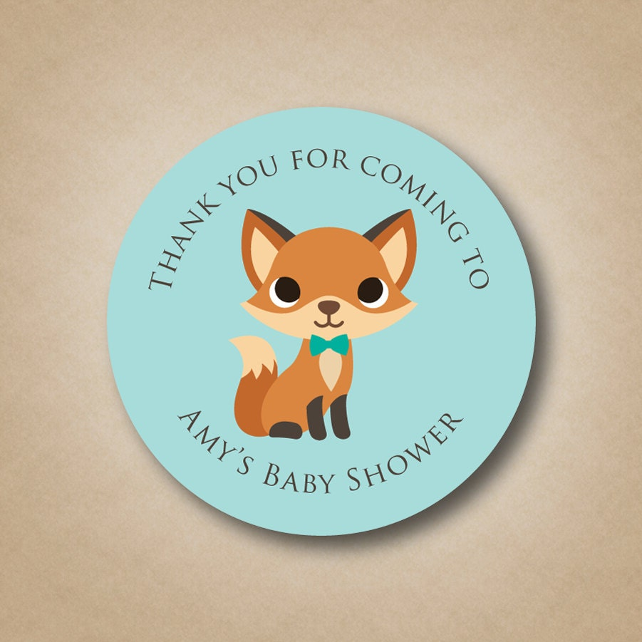 Baby Shower Stickers For Favors: Woodland Baby Shower Fox Baby Shower Favor Sticker Woodland