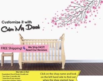 Pink Nursery Decal, Cherry Branch Decals, Cherry Branch Wall Stickers (Pink Grey Long Branch) RDB B76_F1-47_F2-48_C91