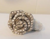 Vintage Rose Pin Brooch with Rhinestones Silver Tone Rhinestone Pin Free Shipping
