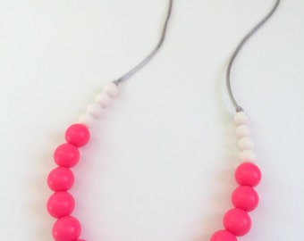 Silicone Teething Necklace / Silicone Nursing Necklace - Neon Pink & White