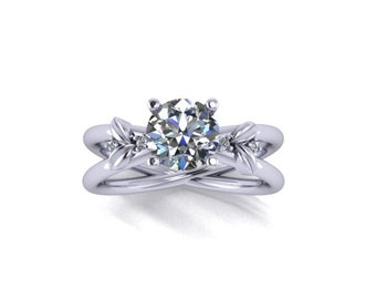 Moissanite Engagement Ring,14K White Gold Diamond Engagement Ring, Wedding Ring, Promise Ring, Right Hand Ring, RE00103