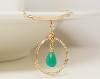 Emerald Green and Gold Necklace, Wire Wrapped Teardrop Gemstone Pendant and Chain, Green Onyx Delicate Jewelry