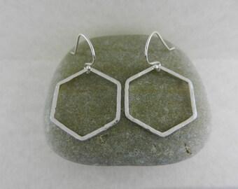 Hammered Hexagons ~ Silver Earrings ~ Geometric Dangle