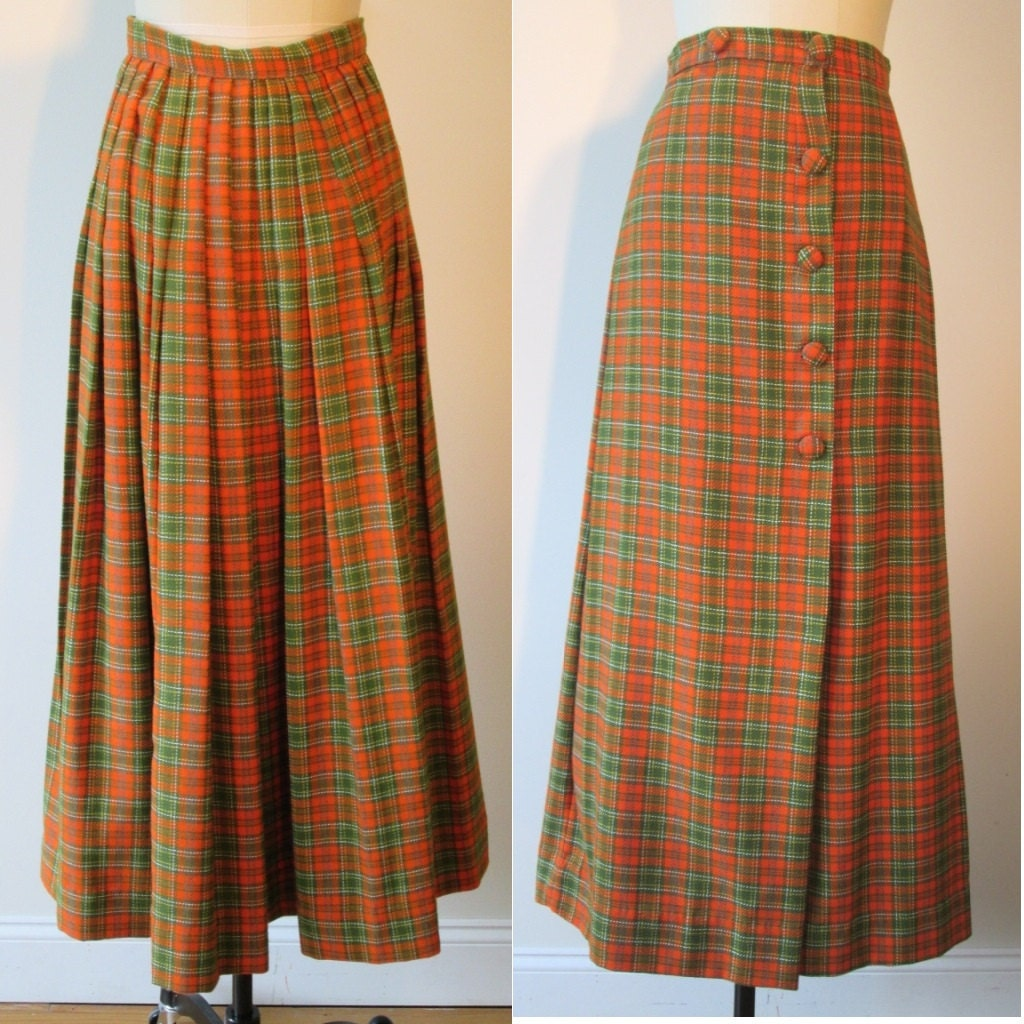 50 s plaid wool maxi skirt wrap kilt style with pleats in