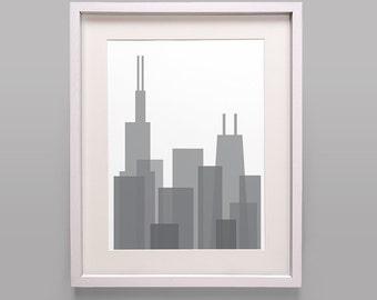 Modern Chicago Skyline Print