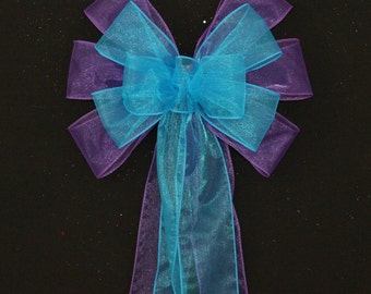 Turquoise Purple Wedding Pew Bows - Church Aisle Decorations, Chair Bows