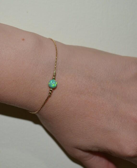 Opal Bracelet, Tiny Dot Bracelet, Small Opal Ball Gold Bracelet, green opal charm, simple dainty circle opal bead bracelet, opal jewelry