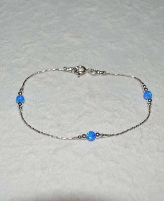 Opal Bracelet, Opal Ball Silver Bracelet, dark blue opal charm, tiny dot bracelet, opal bead bracelet, opal jewelry