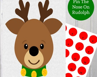 Playful image throughout pin the nose on rudolph printable