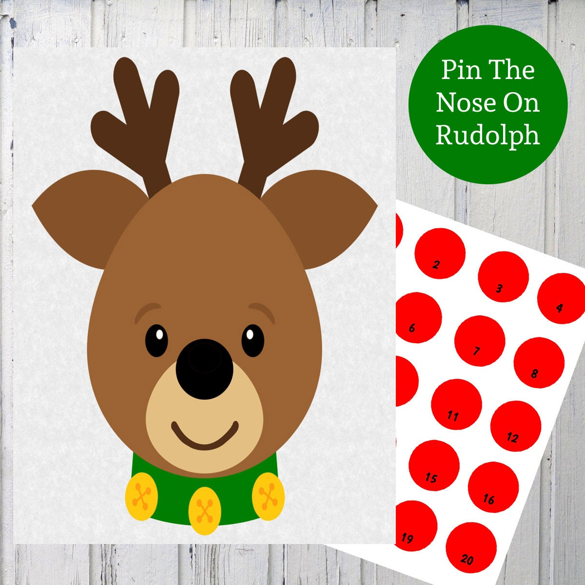 Pin The Nose On Rudolph Reindeer Christmas Printable Game - 1200x1200 ...