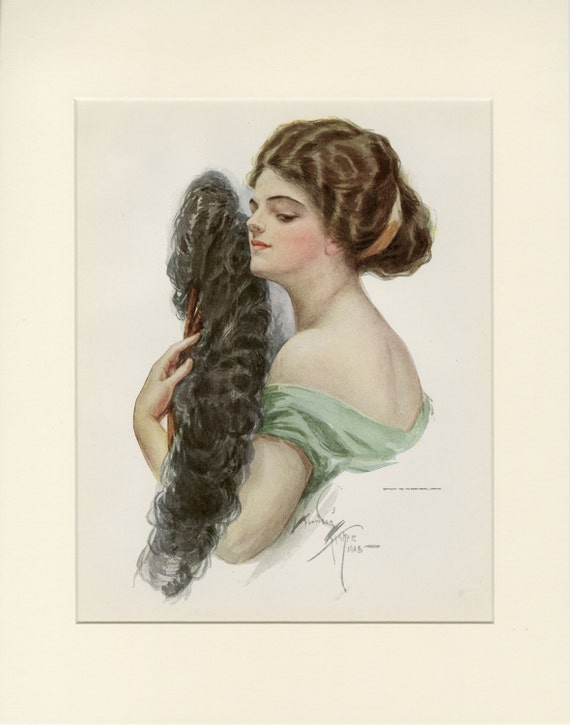 Matted Antique Fashion Print By Harrison Fisher American