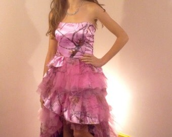 Pink Camo Dress Hi/Lo Ruffle Skirt
