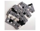 HALF PRICE SALE!  Handmade knitted scarf white/gray/black