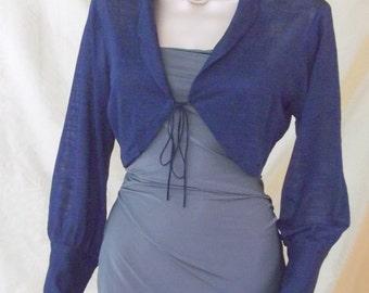 elastic jacket, blue shrug, blue bolero