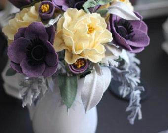 Felt Flower Wedding Bouquet. Custom Made For Each Bride