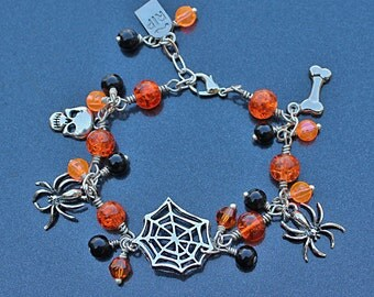 Halloween Charm Bracelet, Orange and Black Bracelet, Spider Web Bracelet, Orange Bracelet, Halloween Jewelry