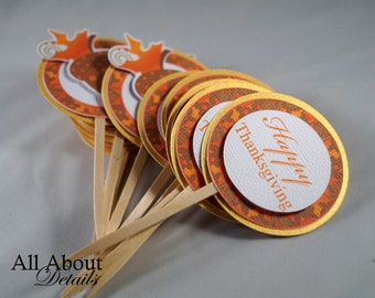 All About Details Thanksgiving Cupcake Toppers, Set of 12
