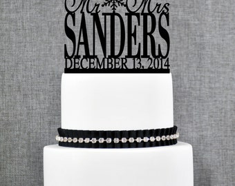 Snowflake Mr and Mrs Last Name Cake Topper with Date, Personalized Holiday Topper, Elegant Christmas Mr and Mrs Cake Topper- (T018)