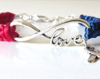 Red and Blue Awareness Ribbon LOVE Macrame Bracelet Congenital Heart Disease Pulmonary Fibrosis SADS Hypo Plastic Left Heart Syndrome