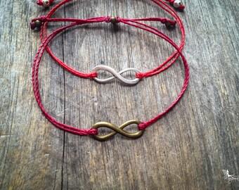 Red string bracelet Infinity yoga meditation crimson thread symbol luck protection evil eye boho jewelry kabbalah