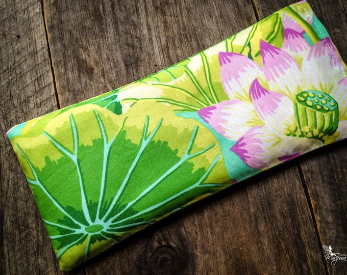 Yoga eye pillow savasana Lotus meditation relaxation aromatherapy tool Lavender or Camomile handmade by Creations Mariposa RY-LR