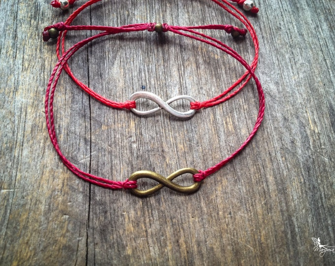 Red string bracelet Infinity yoga meditation crimson thread symbol luck protection evil eye boho jewelry kabbalah