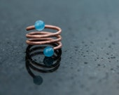 Amadriads. Spiral ring. Copper ring. Blue or pink ring. Modern and elegant ring. Gemstones ring.