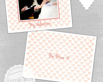 Customise VALENTINES PHOTOSHOP TEMPLATE  5x7 flat card includes 2 layered Photoshop psd files, front and back customizable design