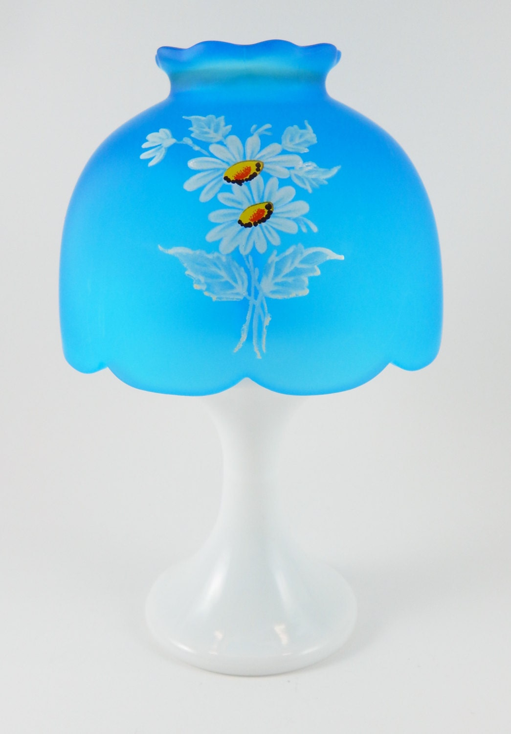 Westmoreland Milk Glass 2pc Pedestal Candle Lamp Blue Shade