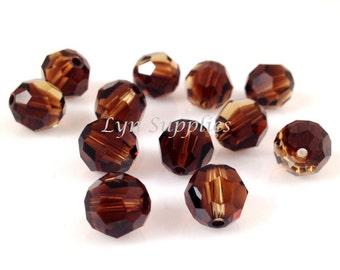 8mm 12pcs TOPAZ BLEND Swarovski Crystal 5000 Faceted Round Beads Black