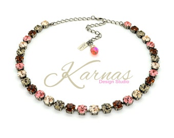 HOLIDAY FRUITCAKE 8mm Crystal Chaton Necklace Made With Swarovski Elements *Pick Your Finish *Karnas Design Studio *Free Shipping*