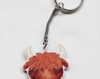 Highland cow animal keyring
