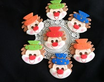 Circus Cupcake Toppers, Circus Birthday, Circus Cake Toppers, Carnival Cake Topper, Clown Cupcake Toppers, Carnival Party, Clown Decorations