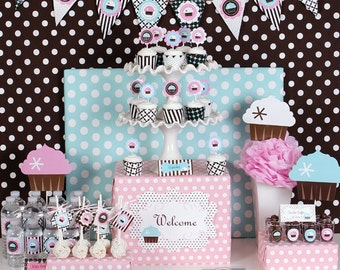 Cupcake Party Decorations - Cupcake Party Theme Decor KIT - Cupcake Themed 1st Birthday Cupcake Theme Birthday First Birthday Party (EB2225)