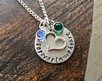 Forever in my heart Necklace Sympathy Gift Sympathy Necklace Memorial Necklace Memorial Jewelry In Memory Jewelry Handstamped Necklace
