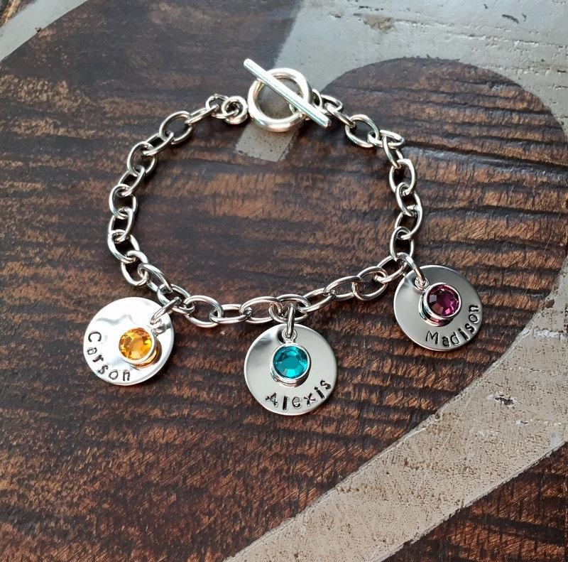 Design Your Own Custom Bangle Charm Bracelet Pick Your Charms: Personalized Charm Bracelet Grandma Bracelet Grandchild