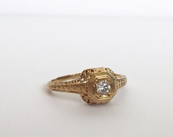 RESERVED Payment 3/3 for E Vintage 18K yellow gold diamond ring, intricately detailed
