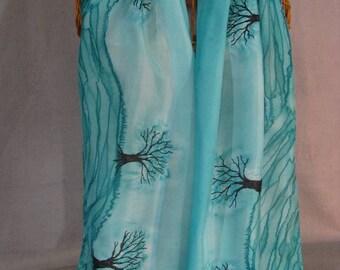 "Silk Scarf ""Aqua Trees"", Hand Painted Silk Scarf, Turquoise Scarf"