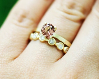 SET: Pink Tourmaline Solitaire Solid 14K Yellow Gold (14KY) Engagement Ring and Diamond <Bezel> Eternity Band *Fine Jewelry* (Free Shipping)