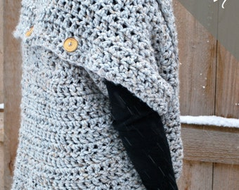 Crochet PATTERN - Oversized Cardigan Sweater - Chunky Cowl - Easy