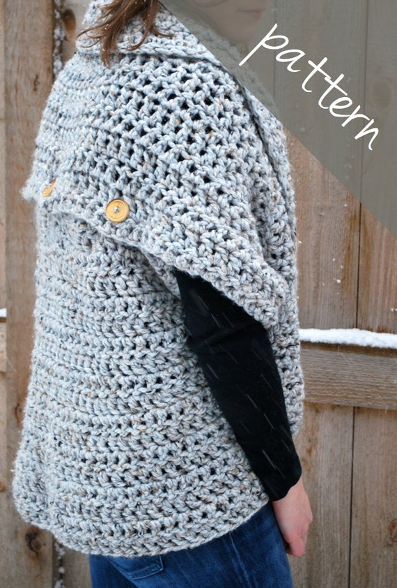 Crochet PATTERN Oversized Cardigan Sweater Chunky Cowl