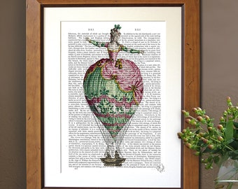 Hot Air Balloon Print Woman 2 - balloon decor french country decor french print gift for woman gift for her valentines gift bedroom wall art