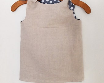 Linen-cotton reversible mini dress, 1-2 years old