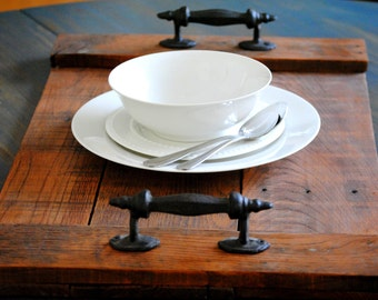 Rustic Wooden Tray - Serving Platter - Handcrafted from Reclaimed Wood - Wrought Iron - Natural Wood Centerpiece- Vanity Tray -Made to Order