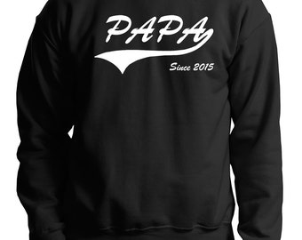 Papa Since 2015 Sweatshirt Gift For New Father Sweater