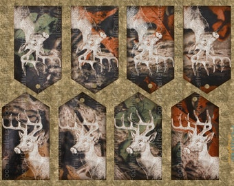 ON SALE Instant Download, 8 Deer Camo Gift Tags, 3.75 x 2 Inches, Printable Digital Collage Sheet, Deer Hunting, Wildlife Tags, Woodland, Ca