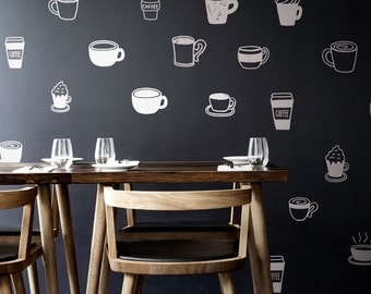 Cute Hand-Drawn Coffee Cups Wall Pattern Decal for the Kitchen